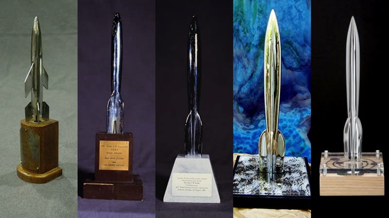 A collection of Hugo Awards from 1953, 1961, 1986, 2011, and 2016.