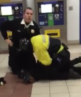 Isabella Brown being restrained by security at the Mall of America for a curfew violation.NAACP Facebook page
