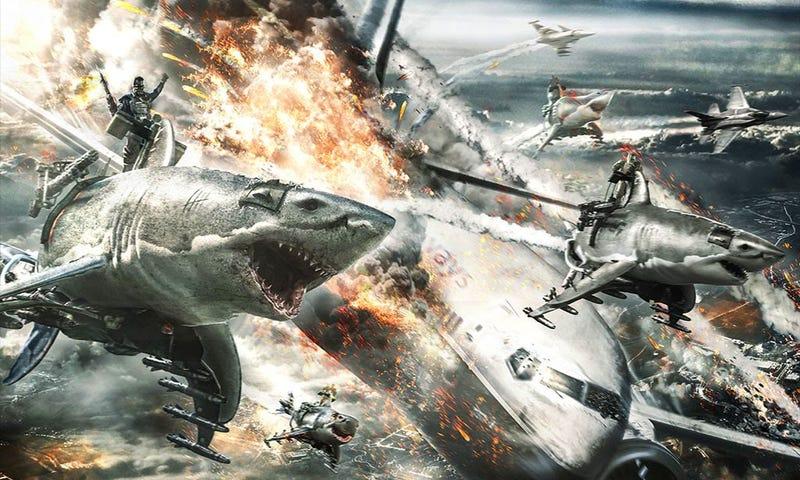 Illustration for article titled Sky Sharks es la peor película que vas a querer ver desde Sharknado