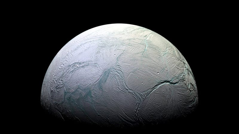Saturn's icy moon Enceladus, photographed by the Cassini spacecraft. Image: NASA/JPL-Caltech