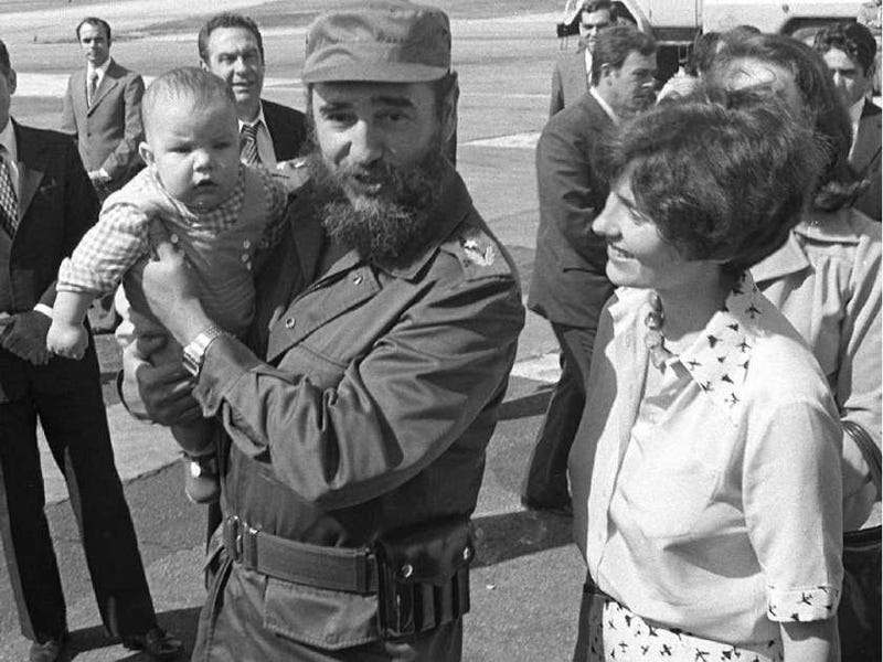 Fidel Castro holding baby Michel Trudeau, son of the former Canadian Prime Minister Pierre Trudeau