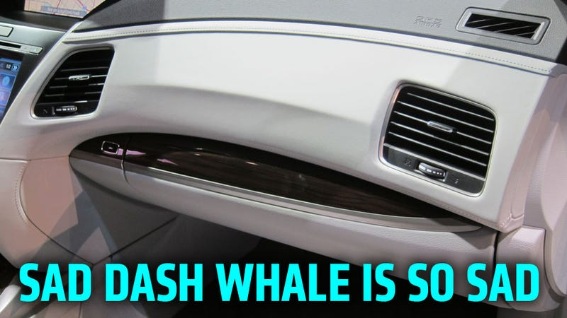 Illustration for article titled The Acura RLX Has A Sad, Sad Beluga Whale On Its Dashboard
