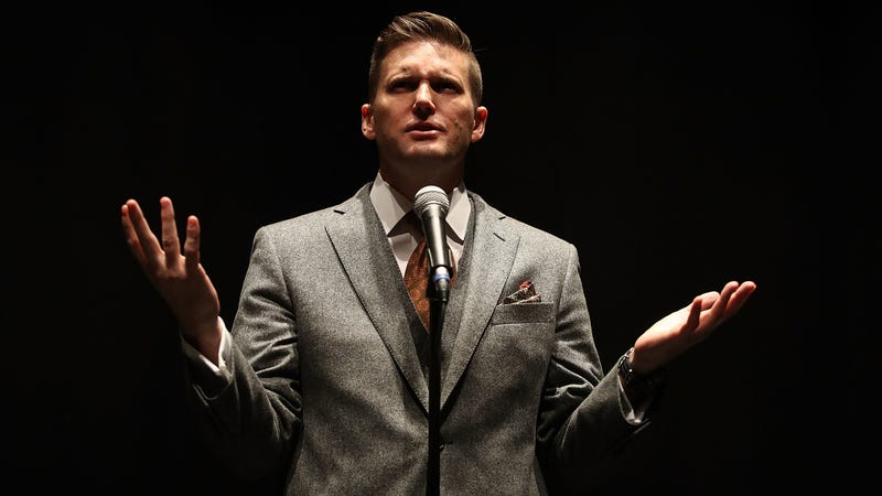 "White nationalist Richard Spencer, who popularized the term ""alt-right,"" speaks during a press conference at the Curtis M. Phillips Center for the Performing Arts on Oct. 19, 2017, in Gainesville, Fla. (Joe Raedle/Getty Images)"