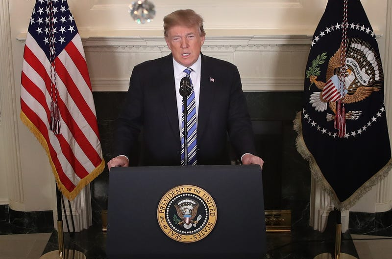 President Donald Trump delivers remarks about the shooting at Marjory Stoneman Douglas High School in Parkland, Fla., at the White House in Washington, D.C., on Feb. 15, 2018. (Win McNamee/Getty Images)