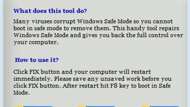 Safe Mode Fixer Repairs Windows Malware Disablements