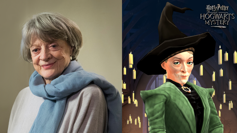 Dame Maggie Smith and the in-game version of Professor McGonagall from Harry Potter: Hogwarts Mystery