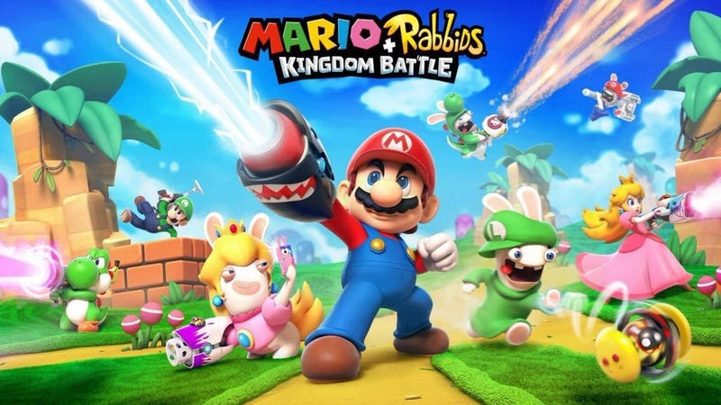 A leaked image of Mario + Rabbids Kingdom Battle, which shows iconic Nintendo characters such as Mario and Princess Peach using what appear to be laser guns while the Rabbids characters dress up like Luigi, Peach and Yoshi. Image via Comicbook.com.