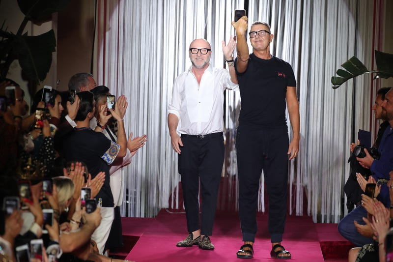 Designers Domenico Dolce (l) and Stefano Gabbana at the Dolce & Gabbana Naked King Secret Show show during Milan Men's Fashion Week Spring/Summer 2019 on June 16, 2018 in Milan, Italy.