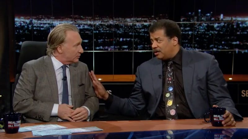 Neil DeGrasse Tyson serving Bill Maher a big tall glass of Shut The Fuck Up. (screenshot from HBO)