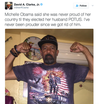 Illustration for article titled Caption This Photo of Sheriff David A. Clarke Jr. in His Trump T-Shirt