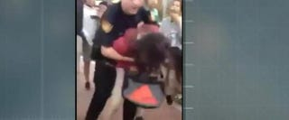 Footage of San Antonio school cop Joshua Kehm picking up 12-year-old Janissa Valdez before slamming her to the ground March 29, 2016. The San Antonio school district confirmed April 11, 2016, that it has fired Kehm as a result. ABC News