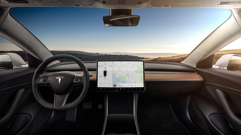 Tesla is reportedly planning a spartan interior for the Model S and X that's similar to the Model 3, as seen here.