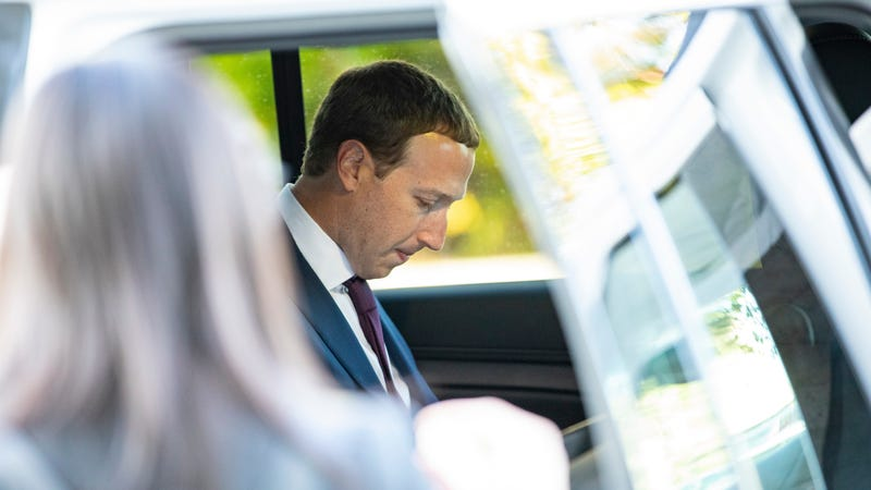 Facebook founder and CEO Mark Zuckerberg eats some food that was waiting for him in his vehicle after leaving a meeting with Senator John Cornyn (R-TX) in his office on Capitol Hill on September 19, 2019 in Washington, DC.