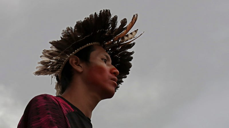 Indigenous people are particularly at risk. This indigenous man from the Guarani Mbya community in Brazil was protesting to have his people's voice heard in a land rights dispute in February 2019.