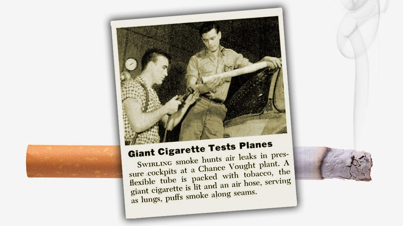 Illustration for article titled Testing Airplanes With Giant Cigarettes Is What America Used To Be