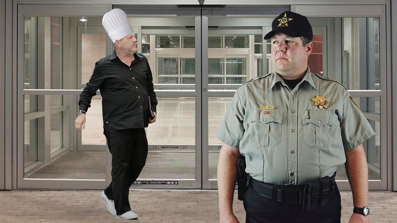 Harvey Weinstein wearing a chef's hat.