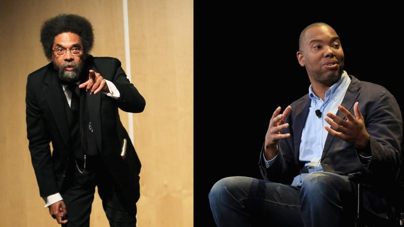 Cornel West in 2016 (Frederick M. Brown/Getty Images); Ta-Nehisi Coates in 2015 (Anna Webber/Getty Images)