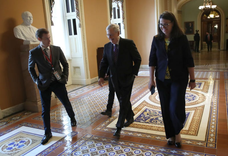 Senate Majority Leader Mitch McConnell (C) (R-KY) returns to his office after the U.S. Senate adjourned for the day January 23, 2019 in Washington, DC. McConnell has indicated the Senate will vote on two bills to end the partial government shutdown on Thursday of this week.