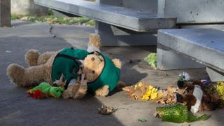 A stuffed animal that was part of a makeshift memorial to Tamir Rice lies on the ground at the Cleveland recreation center where a police officer fatally shot the 12-year-old boy Nov. 24, 2014.JORDAN GONZALEZ/AFP/Getty Images