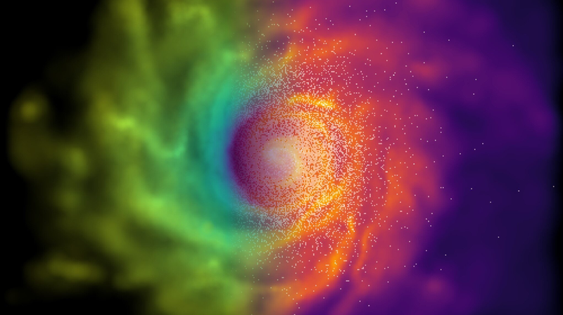 A simulation of a galaxy forming under a modified theory of gravity featuring chameleons.