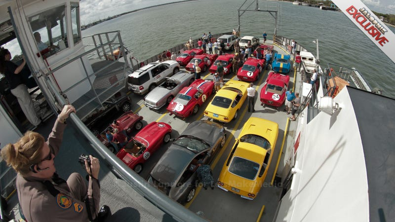 Illustration for article titled This Is $150 Million Worth Of Ferraris On A Ferry