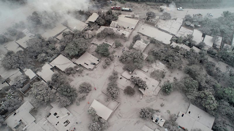 El Rodeo, a small community to the north of Volcan de Fuego, covered in ash.