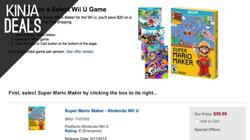 Illustration for article titled Buy Super Mario Maker, Get $20 off Another Wii U Game of Your Choice