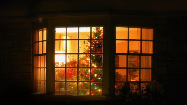 Ungrateful Pricks On Sidewalk Not Even Glancing At Christmas Tree Placed In Window To Bring Them Holiday Cheer