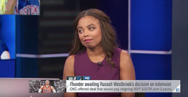 """Illustration for article titled Jemele Hill Denies That Chris Berman Left Her A """"Racially Disparaging"""" Voicemail [Update]"""