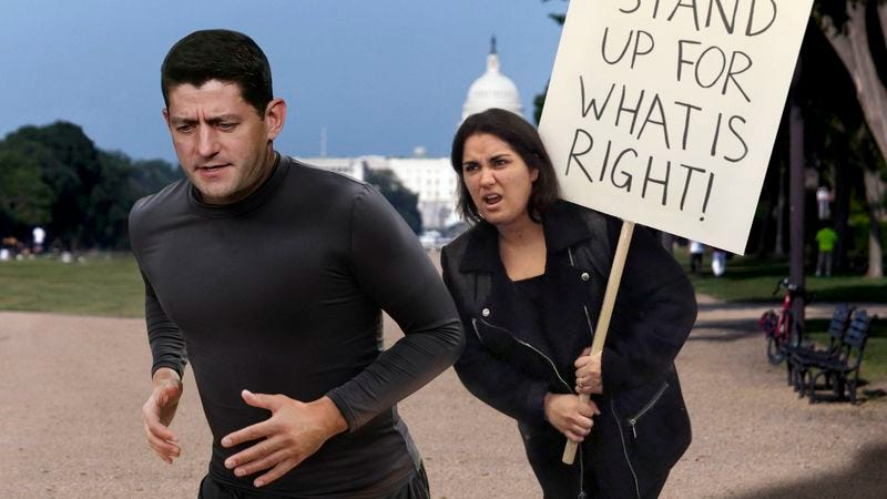 Illustration for article titled Paul Ryan Grudgingly Impressed By Angry Protester Who's Matched His Running Pace For 9 Miles