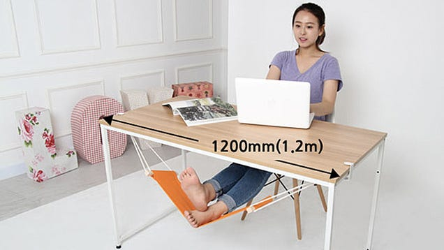 Desk Hammock And unlike a full body hammock, since the Fuut is only supporting your feet, it won't suddenly dump you onto the ground after one wrong move.
