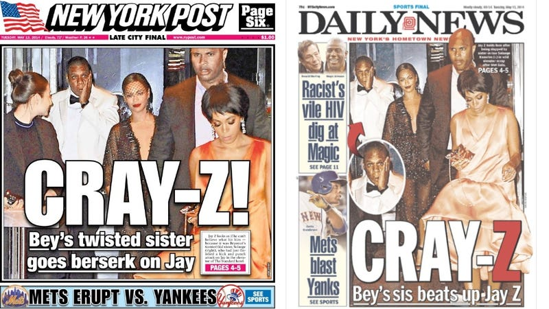 Illustration for article titled Two Tabloids, One Terribly Creative Jay Z Headline