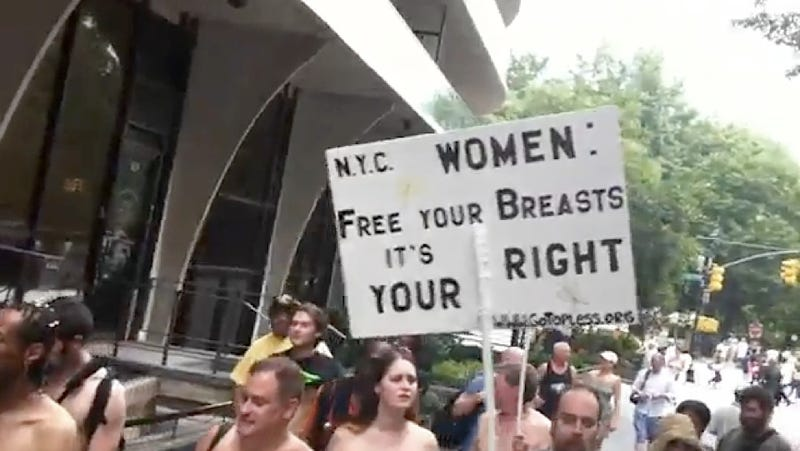 """Illustration for article titled """"Go-Topless Day"""" in New York Was Semi-Nude and Well-Spectated"""