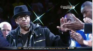 Allen Iverson at a halftime ceremony SaturdayESPN screenshot