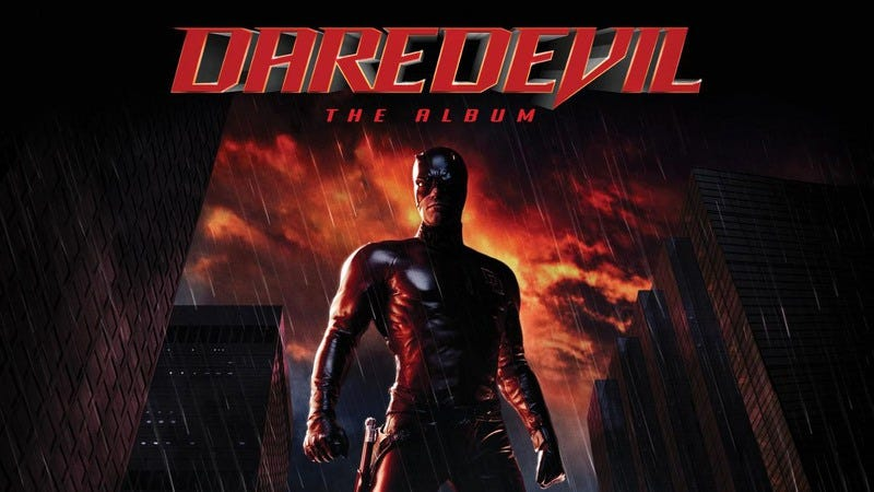 Illustration for article titled Daredevil kicked off a wrongheaded trend in comic-book-movie soundtracks