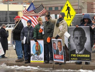 Illustration for article titled VIDEO: Detroit Auto Show Attracts World's Worst Protesters