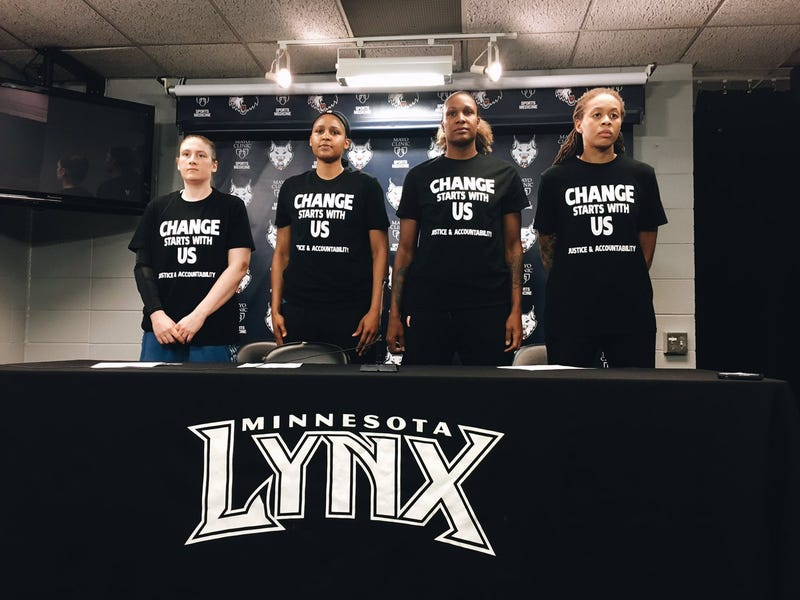 Captains of the WNBA's Minnesota Lynx show the front of their warm-up shirts, demanding accountability regarding recent fatal shootings by and against police.The Minnesota Lynx