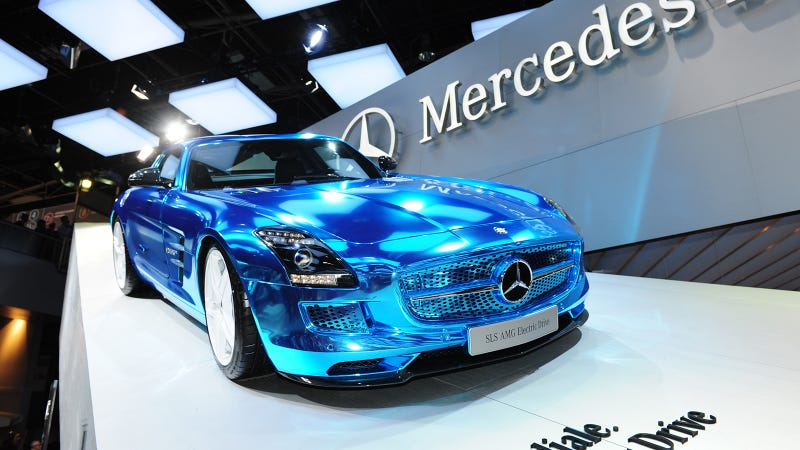mercedes sls amg electric drive the supercar of the future will be electric and awesome