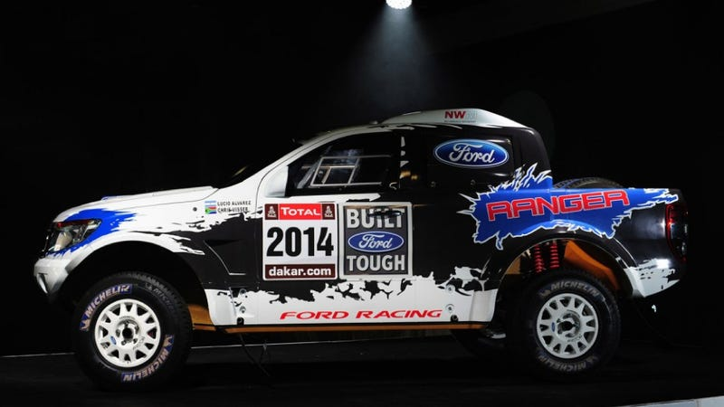Illustration for article titled Ford Enters 2014 Dakar Rally With Wonderful Mustang-Powered Rangers