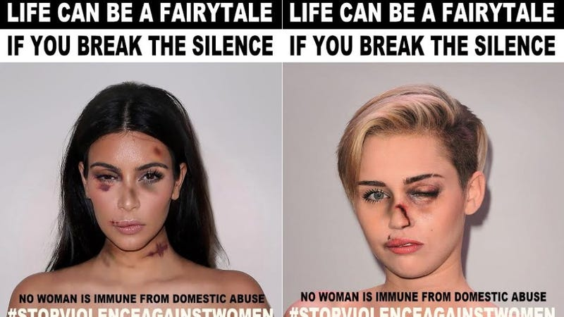 Illustration for article titled Can You Actually Raise DV Awareness by Photoshopping Celebrities to Look Abused?