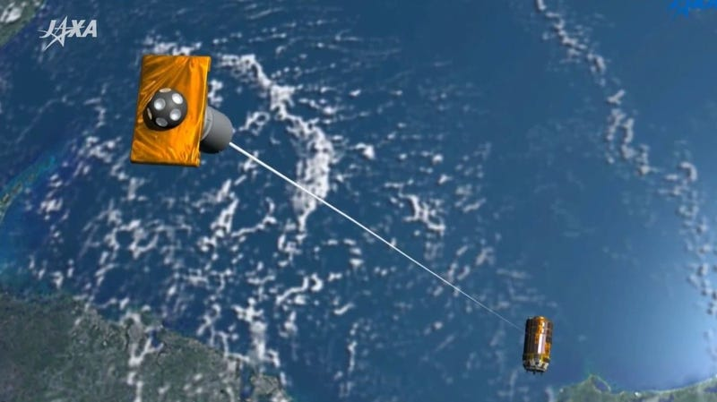 Artist's impression of how the JAXA system is supposed to work. In tests, the cable did not deploy. (Image: JAXA)