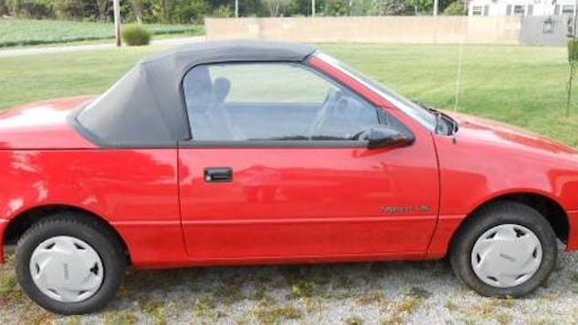 this geo metro convertible only has 548 miles and could be yours. Black Bedroom Furniture Sets. Home Design Ideas