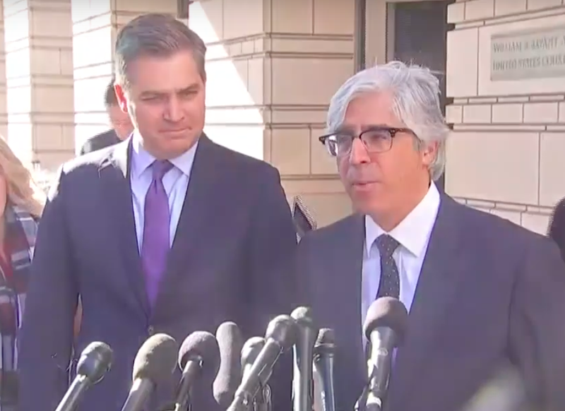 Jim Acosta and CNN lawyer Theodore Boutrous Jr.