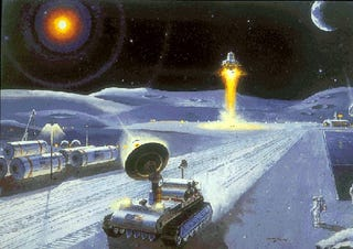 Illustration for article titled Lunar Dreams: 40 Classic Moon Exploration Paintings
