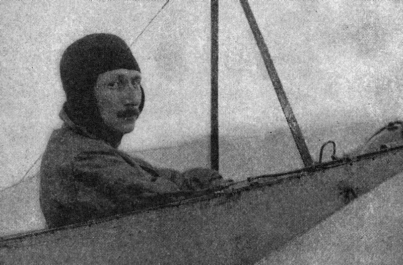 French pilot Leon Delagrange in January 1910, seen in the plane that killed him (scanned from Literary Digest)