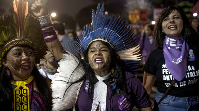 Sonia Guajajara, an indigenous candidate for vice president, participates in a protest against Jair Bolsonaro in September before he won the election.