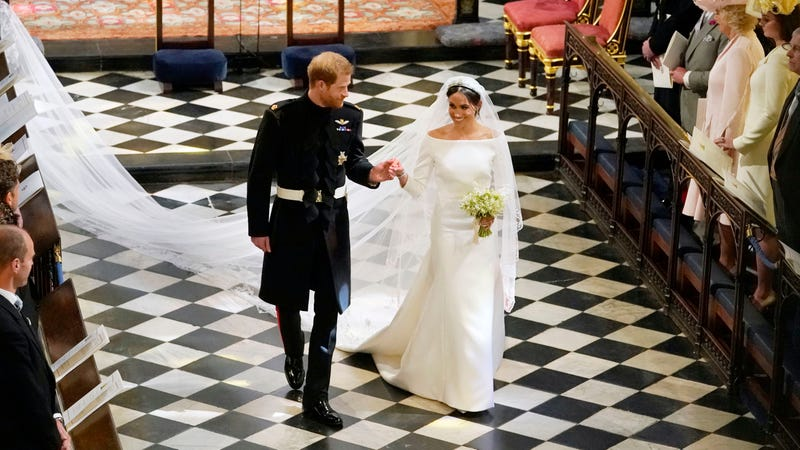 Harry, Duke of Sussex, and Meghan, Duchess of Sussex, depart following their wedding in St. George's Chapel at Windsor Castle on May 19, 2018, in England.