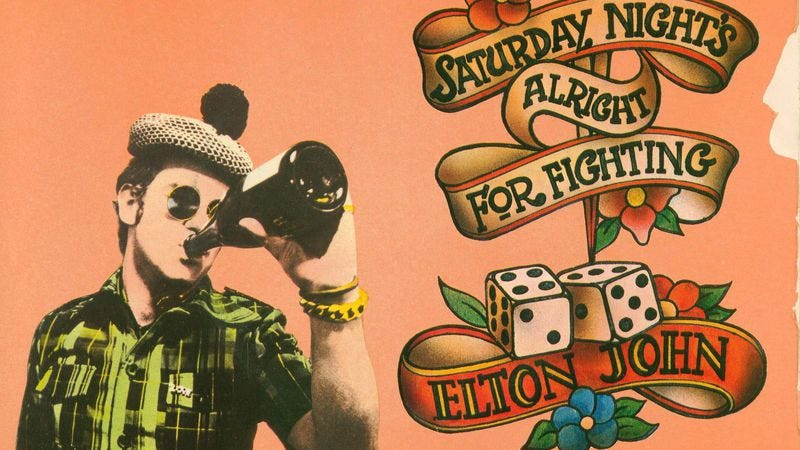 """Illustration for article titled """"Saturday Night's Alright"""" finds Elton John """"as oiled as a diesel train"""""""