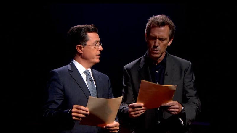 Illustration for article titled Hugh Laurie and Stephen Colbert Read Dirty Words and Make Us All Swoon