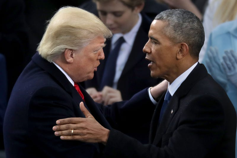 President Donald Trump is congratulated by former President Barack Obama after taking the oath of office on Jan. 20, 2017, in Washington, D.C. (Chip Somodevilla/Getty Images)